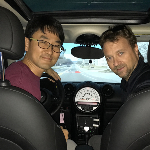 Hyungil Kim with his advisor, Dr. Joseph L. Gabbard in the modified simulator used for the augmented reality display evaluations.